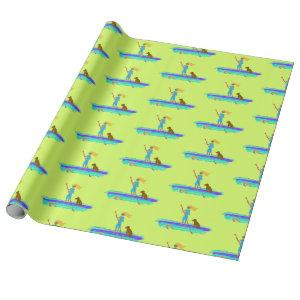 SUP Girl Paddleboarding All Occasion Gift Wrap