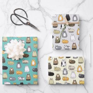 Super Cute Cat Pattern, Choose Your Colors Wrapping Paper Sheets