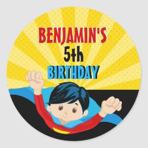 Superhero birthday sticker