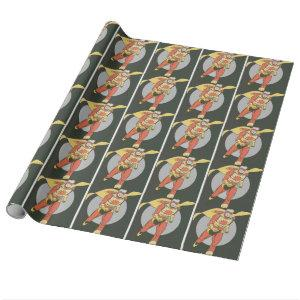 Superhero with Blast Symbol running Wrapping Paper