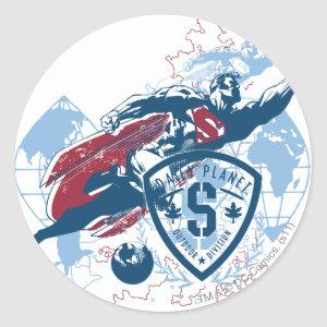 Superman and Map Classic Round Sticker