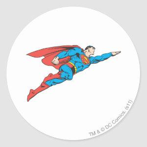 Superman Flying Right Classic Round Sticker