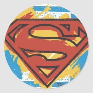 Superman S-Shield | Painted Blue Background Logo Classic Round Sticker