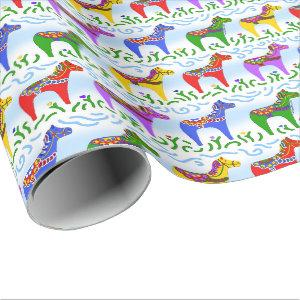Swedish Dala Horses Christmas Wrapping Paper