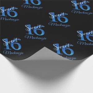 Sweet 16 | Glitzy Blue Glam Typography Name Wrapping Paper