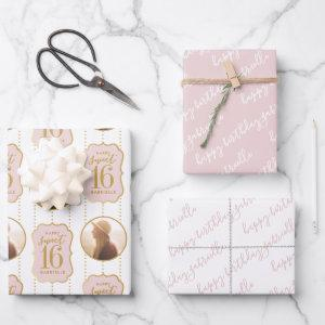 Sweet 16 Personalized Photo and Name Pink Wrapping Paper Sheets