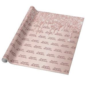 Sweet 16th birthday rose gold glitter drips pink wrapping paper