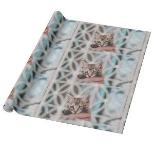 Sweet and cute tigered Kitten waving at You! Wrapping Paper