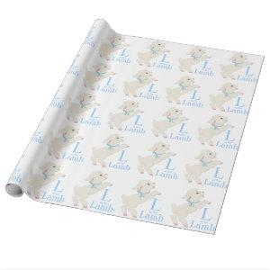 Sweet Blue Lamb Baby Shower Wrapping Paper
