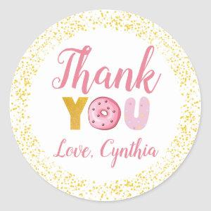 Sweet Donuts Party Gold Glitter Thank You Classic Round Sticker