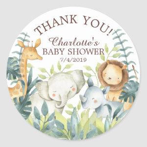 Sweet Jungle Baby Shower Thank You Favor Sticker