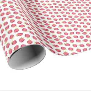 Sweet Pink Strawberry Seamless Pattern Wrapping Paper