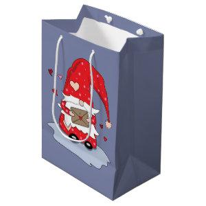 Sweet Red Gnome Blue Gray Gift Bag
