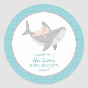 Sweet Shark Baby Shower Classic Round Sticker