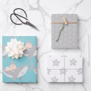 Sweet Shark Baby Shower Wrapping Paper Sheet Set