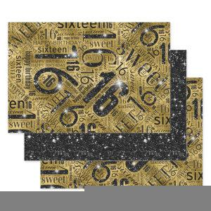 Sweet Sixteen Sparkle Word Cloud Black/Gold ID265 Wrapping Paper Sheets