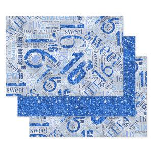 Sweet Sixteen Sparkle Word Cloud Blue ID265 Wrapping Paper Sheets
