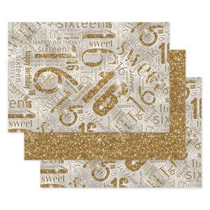 Sweet Sixteen Sparkle Word Cloud Gold ID265 Wrapping Paper Sheets