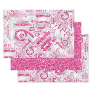 Sweet Sixteen Sparkle Word Cloud Pink ID265 Wrapping Paper Sheets