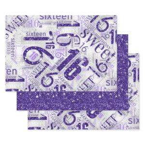Sweet Sixteen Sparkle Word Cloud Purple ID265 Wrapping Paper Sheets