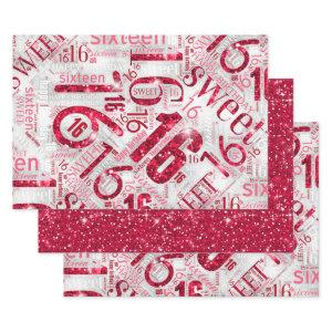 Sweet Sixteen Sparkle Word Cloud Red ID265 Wrapping Paper Sheets
