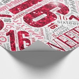 Sweet Sixteen Sparkle Word Cloud Red White ID265 Wrapping Paper
