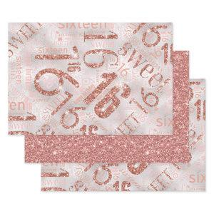 Sweet Sixteen Sparkle Word Cloud Rose Gold ID265 Wrapping Paper Sheets