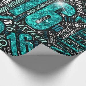 Sweet Sixteen Sparkle Word Cloud Teal ID265 Wrapping Paper