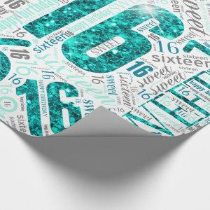 Sweet Sixteen Sparkle Word Cloud Teal White ID265 Wrapping Paper