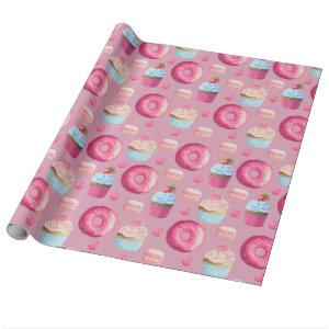 Sweet Strawberry Pink Treats Wrapping Paper