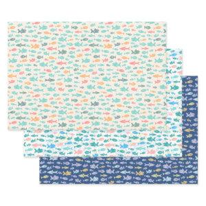 Swimming Fish Nautical Beach Sea Life Patterns Wrapping Paper Sheets