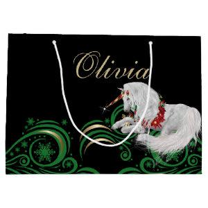 Swirls and Snowflakes Unicorn Green and Gold JOY Large Gift Bag
