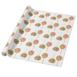 Swirly Rock Candy Cane Lollipop Wrapping Paper