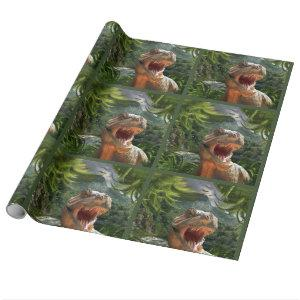 T Rex in Prehistoric Landscape Wrapping Paper