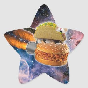 taco cat and rocket hamburger in the universe star sticker
