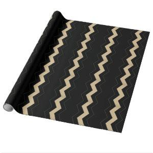 Tan and Black Zigzag  Wrapping Paper
