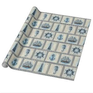 Tan and Blue Nautical Seahorses and Lighthouses Wrapping Paper