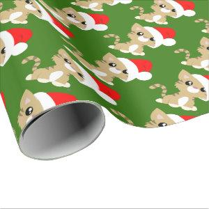 Tan Christmas Kitty Wrapping Paper