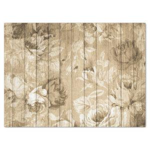 Tan Distressed Rustic Roses on Wood Decoupage Tissue Paper