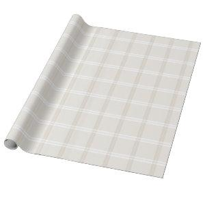 Tartan Plaid Beige & White No. 49 Wrapping Paper