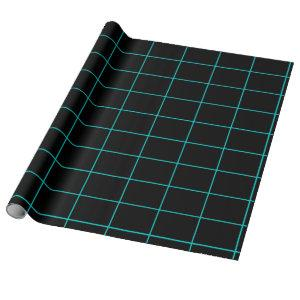 teal and black grid wrapping paper