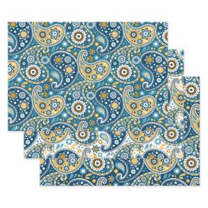 Teal and Gold Bohemian Paisley Print Pattern Wrapping Paper Sheets
