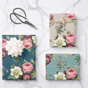 Teal, Aqua and Beige Vintage Floral Rose Pattern Wrapping Paper Sheets