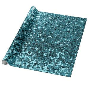 Teal Aquatic Sequin Glitter Shiny Effect Wrapping Paper