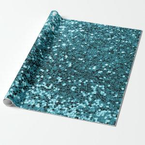 Teal Aquatic Tiffany Sequin Glitter Shiny Effect Wrapping Paper