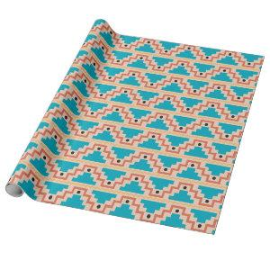Teal Aztec Pattern Wrapping Paper