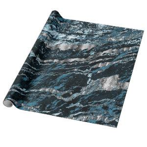 Teal Blue and Silver Marble Texture Look Wrapping Paper