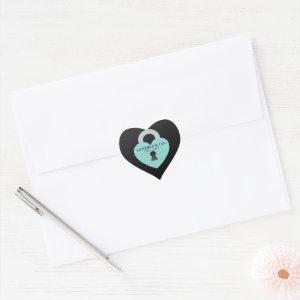 Teal Blue Love Heart Celebrate Shower Tiara Party Heart Sticker