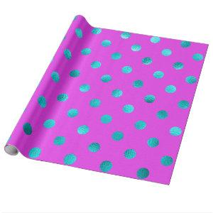 Teal Blue Metallic Faux Foil Polka Dot Purple Wrapping Paper