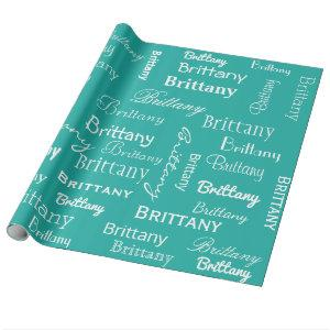 Teal Blue Personalized Name Wrapping Paper